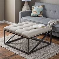 coffee table ottoman White Upholstered DIY Tufted Ottoman Coffe Table With Black Metal Base On Gray Carpet Tiles In ...