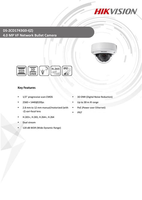 Hikvision DS-2CD1743G0-IZ 4.0 MP VF Network Bullet Camera