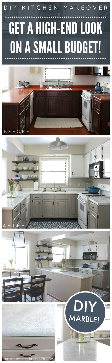 budget kitchen makeover diy faux marble countertops diy kitchen makeover on a budget before and after giani