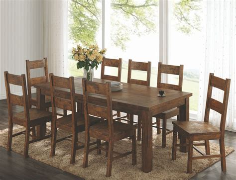 coleman rustic golden brown rectangular dining room set