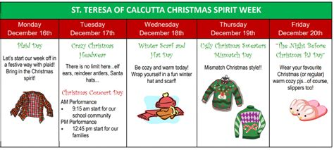 Hood of the winter spirit. Christmas Spirit Week at STC - St. Teresa of Calcutta