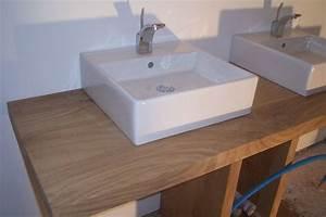 Plan De Travail Salle De Bain Bois : photo meuble vasque chene vert ~ Teatrodelosmanantiales.com Idées de Décoration