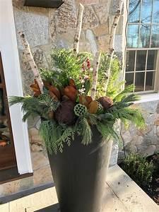 Elegant, Holiday, Planter, Using, Fresh, Evergreen, Boughs, Magnolia, Birch, Logs, Holiday, Decor