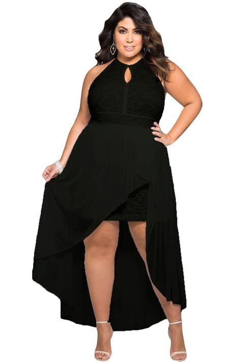 Stylish Black Lace Special Occasion Plus Size Dress ...