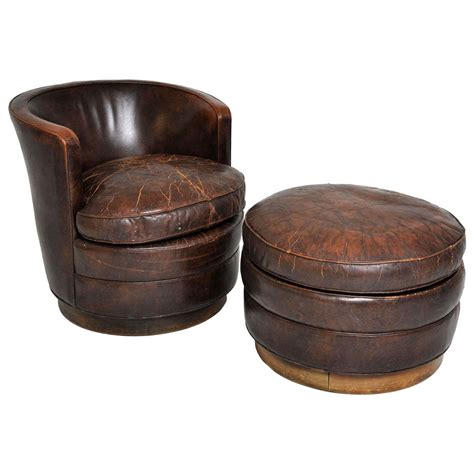 swivel lounge chair and ottoman dunbar swivel lounge chair and ottoman at 1stdibs