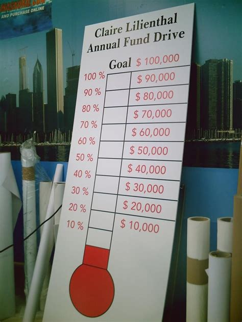 fundraiser thermometer  goal place  front