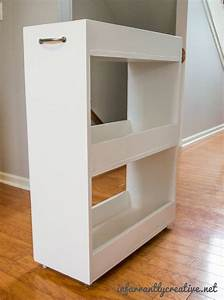 Slim rolling laundry room storage cart free diy plan for Laundry room cart rolling