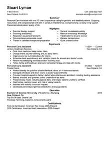 resume for personal assistant to director unforgettable personal care assistant resume exles to stand out myperfectresume