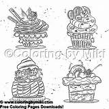 Coloring Sweets 2125 Cupcakes Sketch Coffee Coloringbymiki Cupcake sketch template