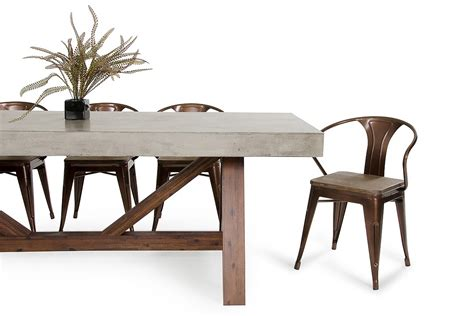 modrest revok modern concrete acacia dining table