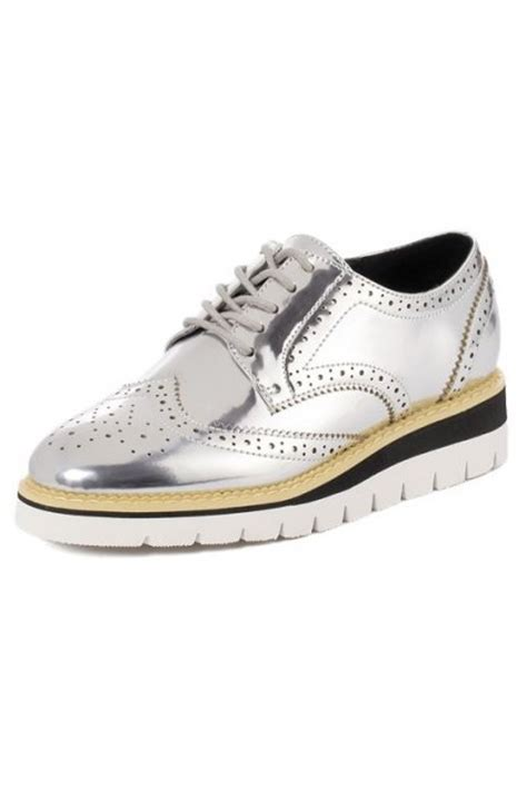platform leather sneakers silver patent metallic shiny leather lace up baroque