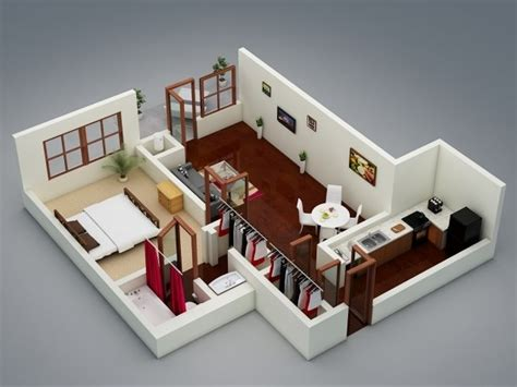"One """" Bedroom Apartment/house Plans"