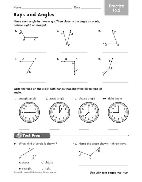 3rd grade math line segments and angles worksheets lines