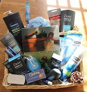 Men's grooming/spa/ Fathers Day basket before cellophane ...