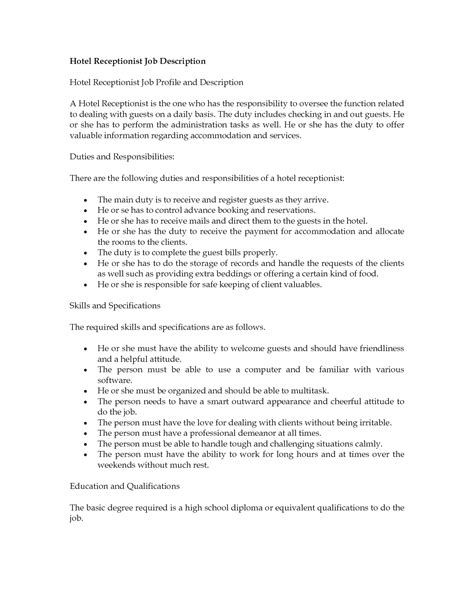 medical receptionist description hotel receptionist job description receptionist job
