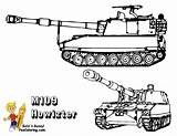 Army Coloring Pages Military Printables Sheets Yescoloring Tank M109 Brawny Soldier Truck Howitzer Humvee Boys Emblems Bossy Bold Battle Printouts sketch template