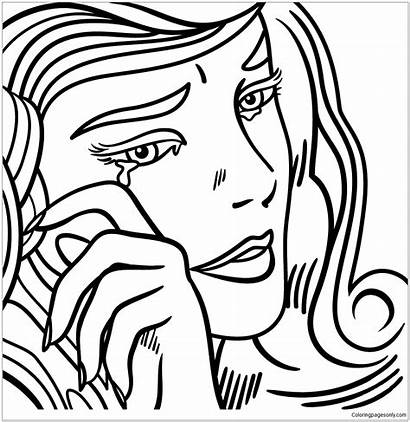Coloring Crying Lichtenstein Roy Pages Pop Drawing