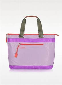 Bensimon Neon Line Nylon Zippered Tote Bag in Purple