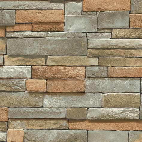 Blue Mountain Ledge Stone Brown Peelable Vinyl Prepasted