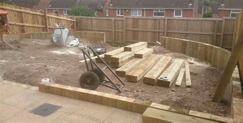 landscaping decking patios play house sleeper wall