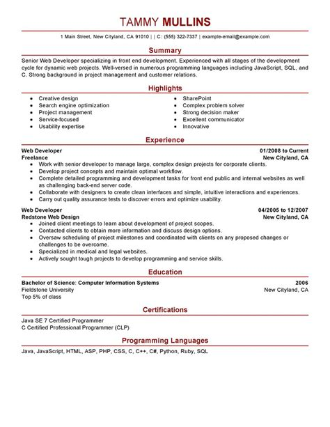 Modern Technology Resume by Web Developer Resume Exles Computers Technology