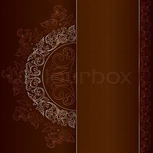 Gold vintage floral patterns on brown background | Stock ...