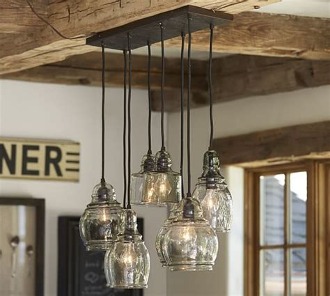 pottery barn kitchen ceiling lights paxton glass 8 light pendant pottery barn