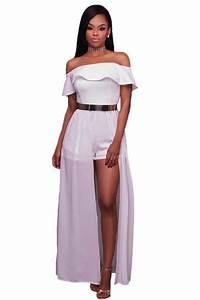 Womens Sexy Frill Off Shoulder Chiffon Maxi Romper Dress