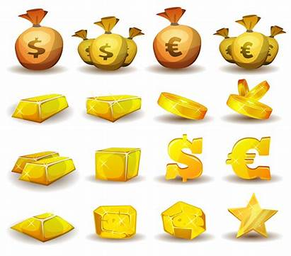 Gold Coins Cartoon Money Icons Credit Coin