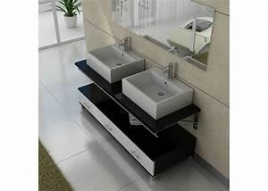 Meuble Double Vasque Noir : meuble salle de bain double vasque dis985 noir et blanc ~ Teatrodelosmanantiales.com Idées de Décoration