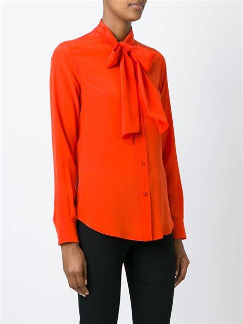 orange blouses moschino bow blouse in orange lyst