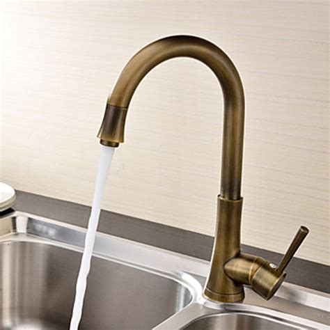 antique brass kitchen faucet antique brass finish single handle deck mounted kitchen faucet faucetsuperdeal com