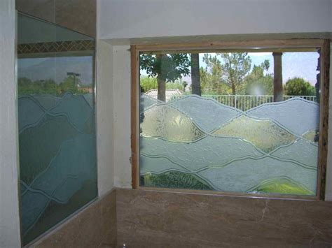 abstract hills glass window etched glass rustic decor