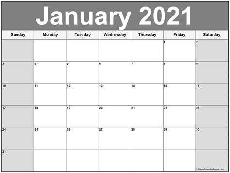 Print 2021 calendars printable for daily, weekly & monthly. January 2021 calendar | free printable calendar templates