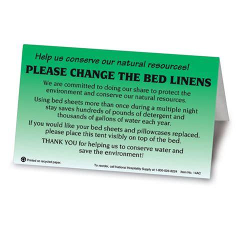 change linens bedroom tent signs pk lodgmate