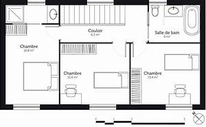 plan maison a etage 110 m2 avec 3 chambres ooreka With plan appartement 150 m2 4 plan maison rectangulaire avec patio ooreka