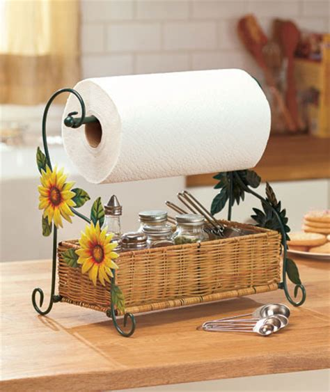 Sunflowers Themed Paper Towel Roll Holder Country Kitchen