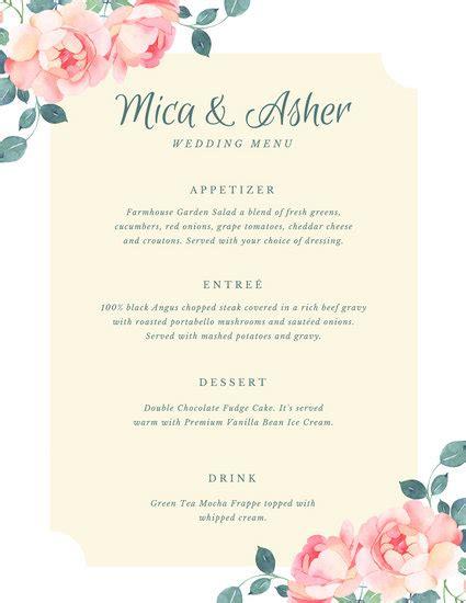 customize  wedding menu templates  canva