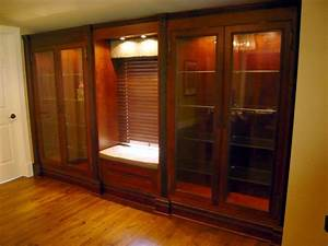 Custom Built-In Cherry Display Cabinets by Two Rivers