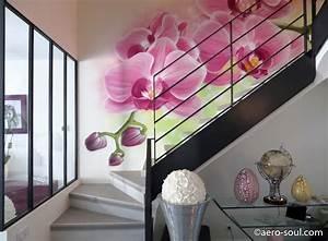 Décoration D Escalier Intérieur : beau decoration escalier interieur peinture 6 d233coration murale avec orchid233e pour cage ~ Nature-et-papiers.com Idées de Décoration