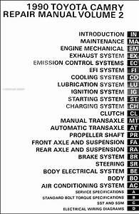 1990 Toyota Camry Repair Shop Manual 2 Volume Set Original