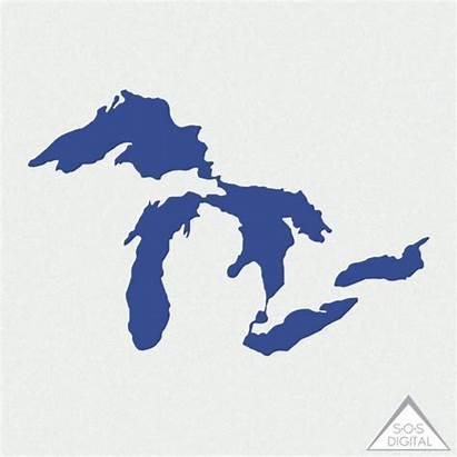 Lakes Michigan Lake Clipart Huron Mitten State