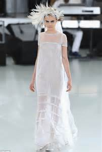 headdress for wedding cara delevingne is ethereal in wedding dress at chanel