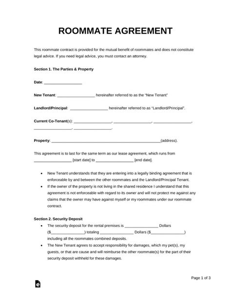 roommate room rental agreement template