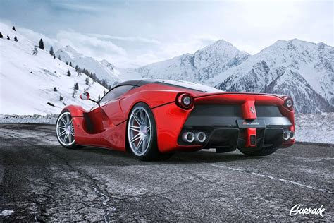 ferrari laferrari hre wheels landscape road mountains cars