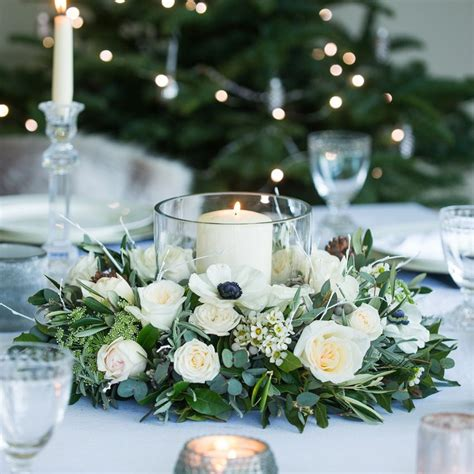 christmas table wreath centerpieces nordic table wreath from our 2016 collection this winter white table