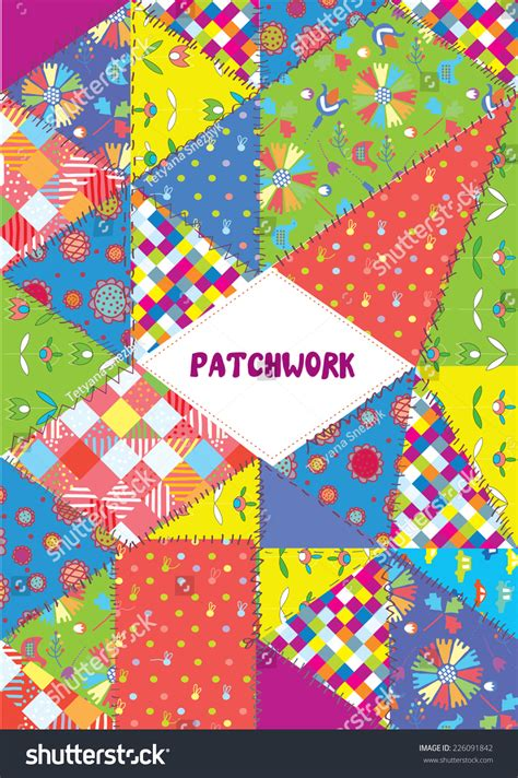 patchwork cover placard funny design patterns stock vector