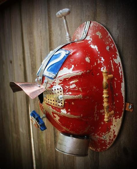 upcycled metal hard hat lighted birdhouse curbly