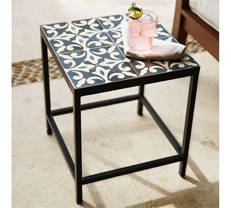 square tile side table pottery barn