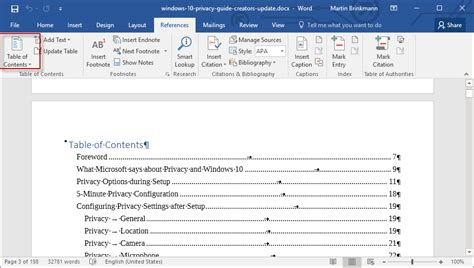 microsoft word table of contents how to add a table of contents to a word 2016 document